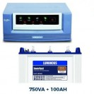 Luminous 750 VA Sinewave Home UPS + 100 AH Tubular Battery Combo