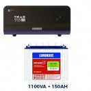 Luminous 1100VA Sinewave Home UPS + 150AH Tall Tubular Battery Combo
